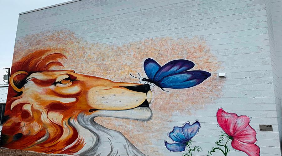 Brillion Mural with an image of a lion with a butterfly on its nose.