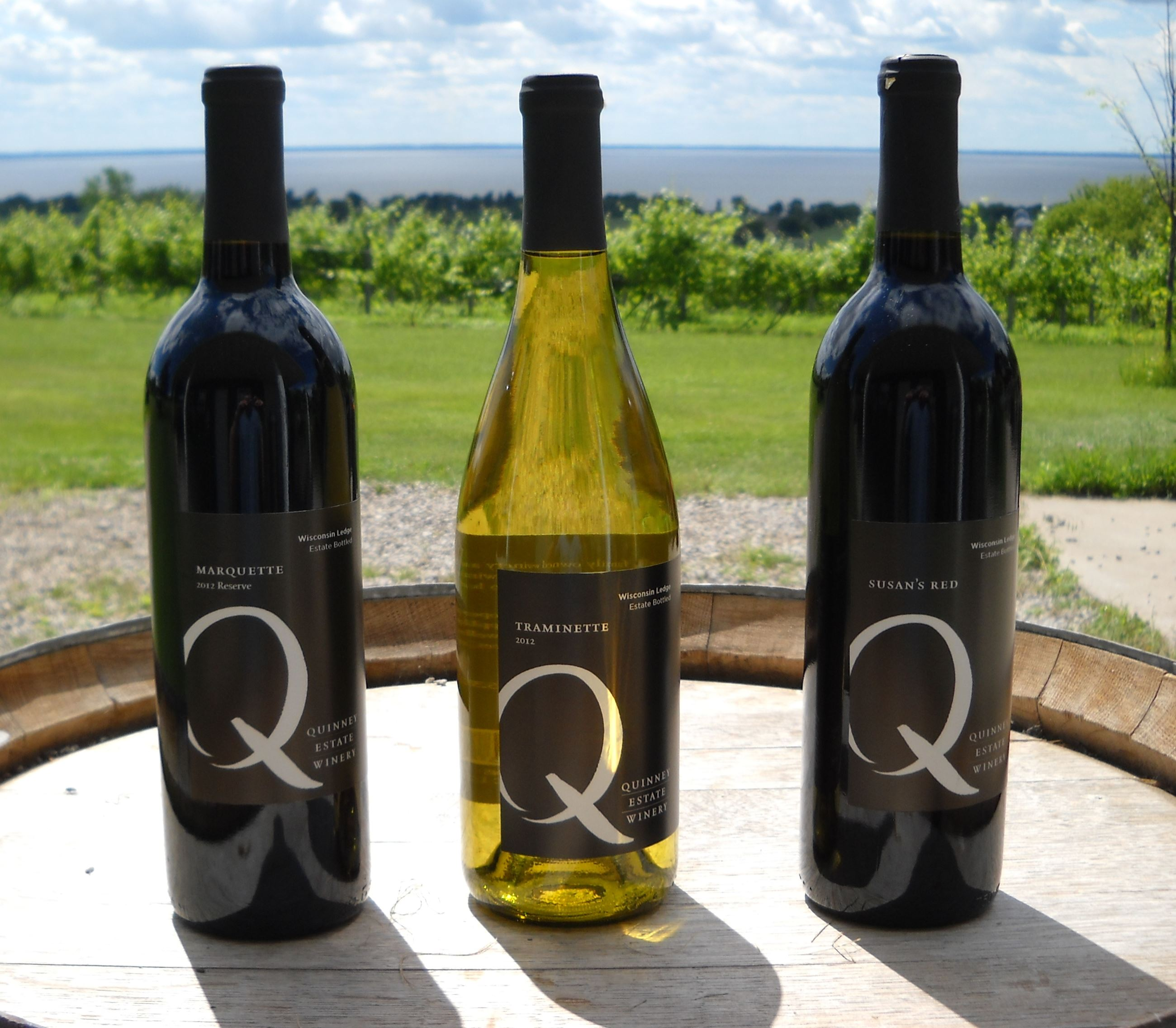 Three bottles of wine from Quinney Estate Winery