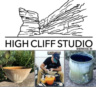 Bowl and cup pottery pieces with potter using the potter's wheel and business logo for High Cliff