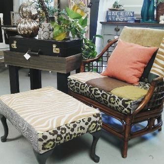 Boho style chair with ottoman and side table from Wild Chicory