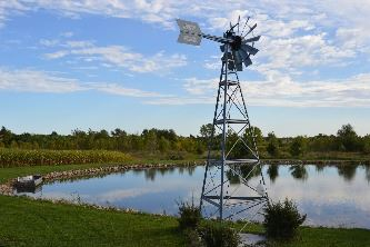 Old fashion windmill next to pond at Evergreen Valley Fish Farm