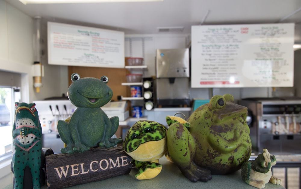 Image from the countertop looking in of Frogg's Ice Cream Shop